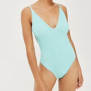 Topshop Mint Rib Plunge One Piece Swimsuit Size 6